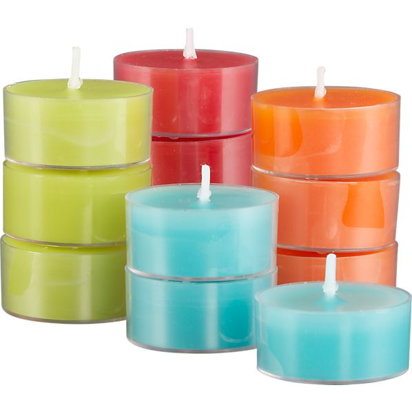 Set of 12 Multi-Colored Citronella Tealight Candles
