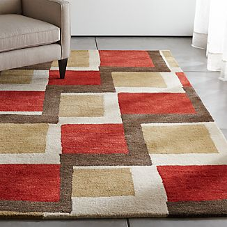 City Orange Wool Rug