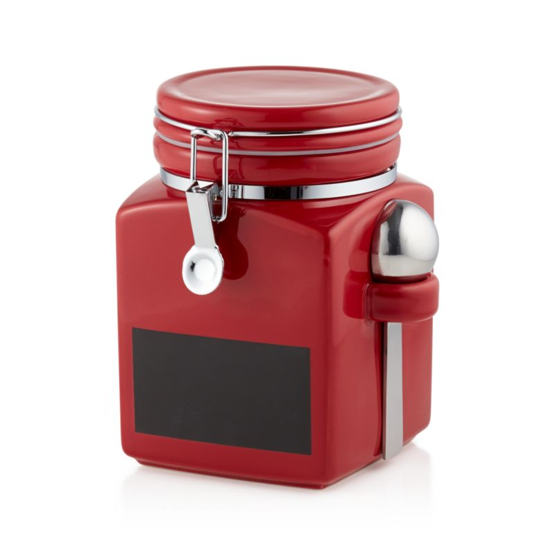Medium Red Clamp Canister With Chalkboard