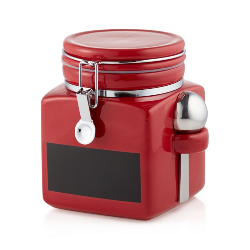 Small Red Clamp Canister With Chalkboard