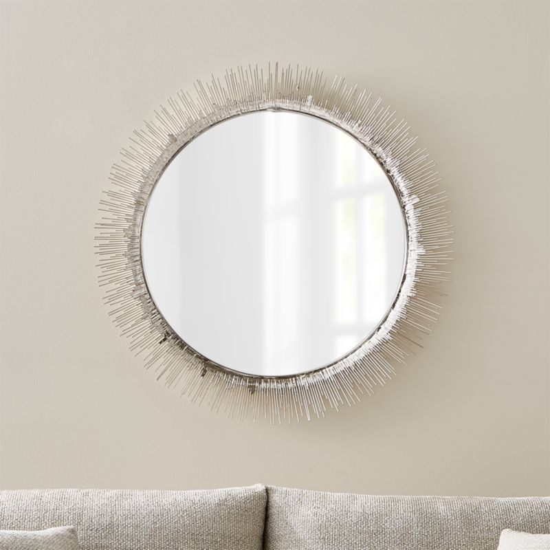 Clarendon large round silver wall mirror crate and barrel for Big silver mirror