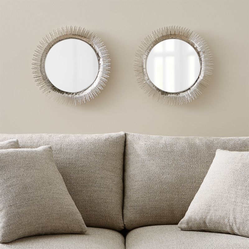 Set Of 2 Clarendon Small Round Silver Wall Mirror Crate