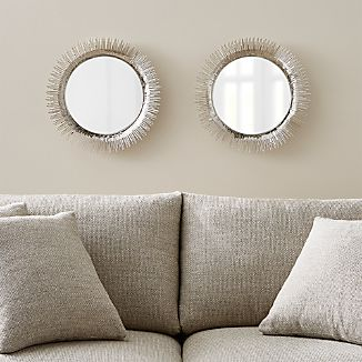 Set of 2 Clarendon Small Round Silver Wall Mirror