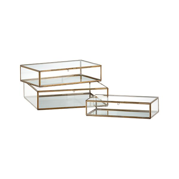 clarus brass display boxes crate and barrel. Black Bedroom Furniture Sets. Home Design Ideas