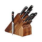 "Wüsthof ® Classic 10-Piece Knife Block Set: 2.75"" trimming knife, 3"" flat cut paring knife, 3.5"" paring knife, 4.5"" utility knife, 5"" tomato knife, 8"" bread knife, 8"" cook's knife, kitchen shears, 9"" sharpening steel and 17-slot acacia knife block."