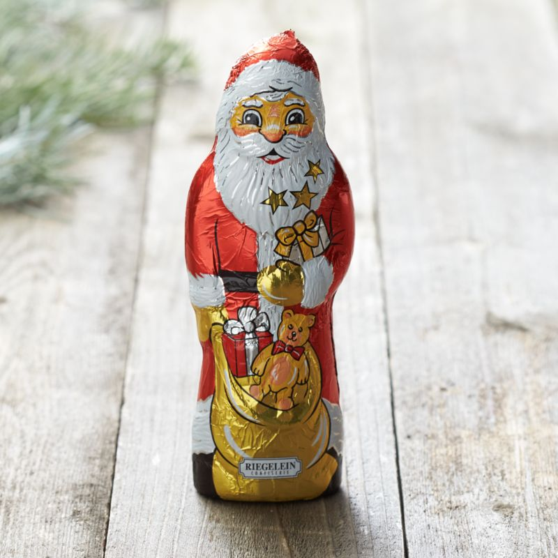 Based on a half-century tradition, this charming milk chocolate Santa figure is wrapped in decorative foil with all the St. Nick details including his bag of toys.<br /><br /><NEWTAG/><ul><li>Sugar, cocoa butter, whole milk powder, cocoa liquor, sweet whey powder, soya lecithin and natural vanilla extract</li><li>4 servings</li><li>Shelf life: 12 months</li><li>Produced in a facility that processes nuts</li><li>Gluten-free</li><li>Made in Germany</li></ul>