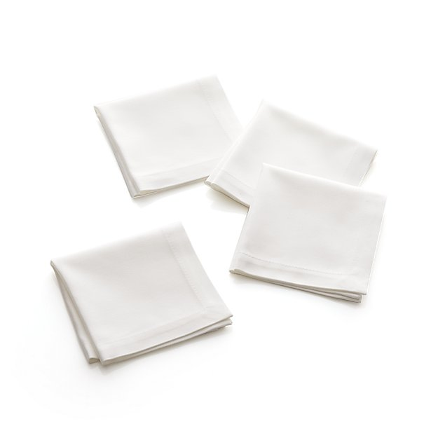 Set of 4 Classic White Cocktail Napkins