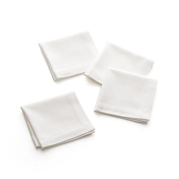 Classic White Cocktail Napkins Set of Four