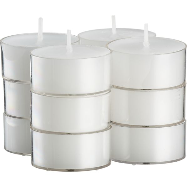 Set of 12 Clear-Cupped White Tealight Candles