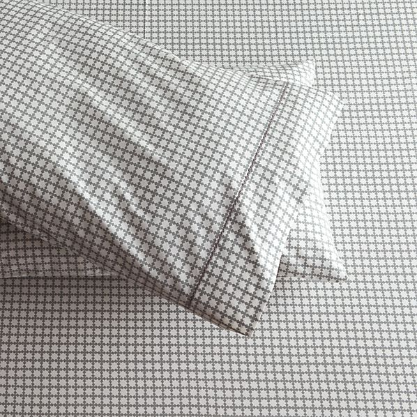 Set of 2 Clover Grey Standard Pillowcases