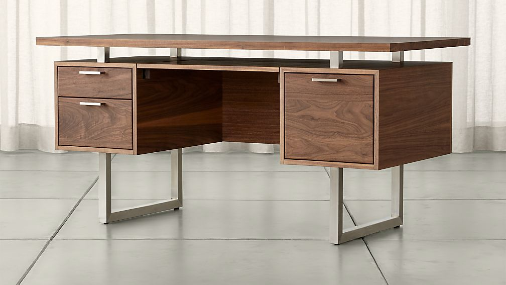 Clybourn walnut executive desk crate and barrel - Walnut office desk ...