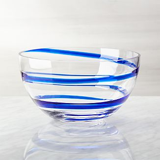 Cobalt Blue Swirl Glass Bowl