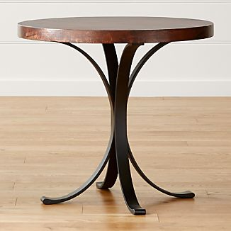 "Cobre 32"" Round Iron Bistro Table with Copper Top"