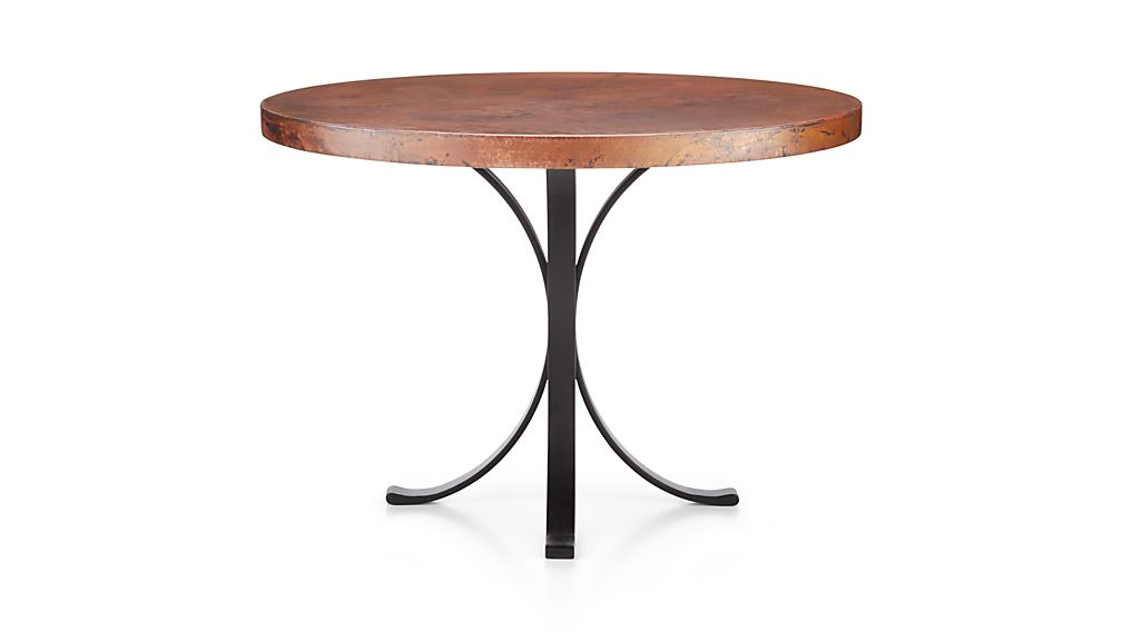 "Cobre 42"" Round Iron Bistro Table with Copper Top."