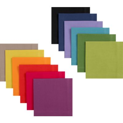 Set of 12 Multicolored Cocktail Napkins