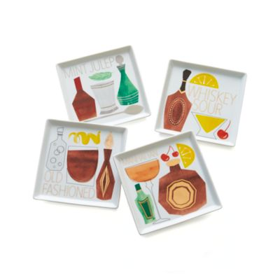 Set of 4 Cocktail Recipe Plates