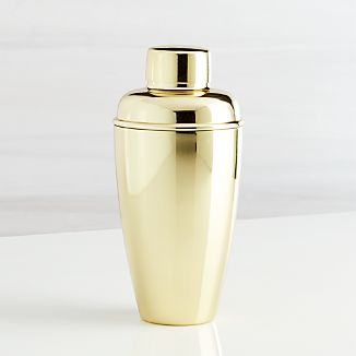 Stainless Steel Cocktail Shaker with Gold Finish