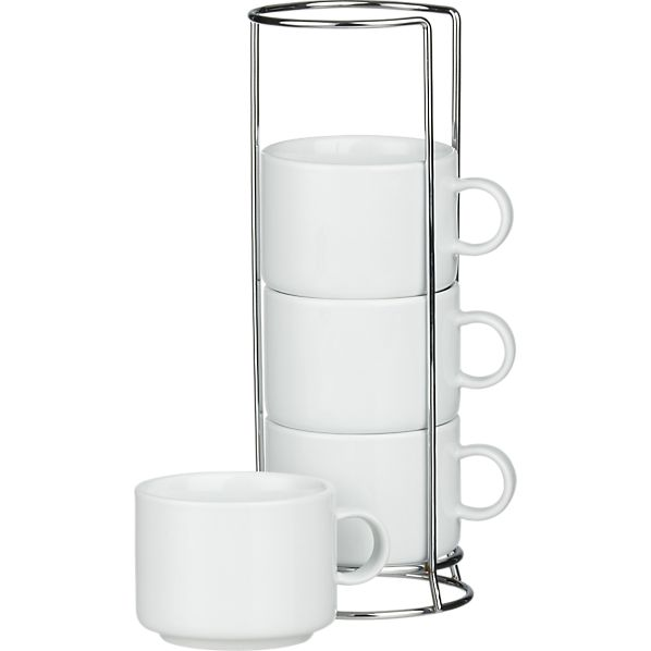 Set of 4 Stacking Coffee Mugs with Metal Rack