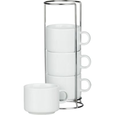 Set of 4 Stacking Coffee Mugs with Metal Rack