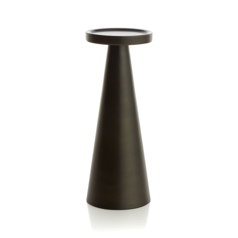 "Iconic meets conic in stylized spool-designed candleholder with a mid-century modern vibe. Clean, contemporary pedestal of darkly lustrous iron is a versatile decor accent on its own or grouped with other candleholders in the Cohen collection.<br /><br /><NEWTAG/><ul><li>Iron</li><li>Accommodates up to 3""-dia. pillar candle, sold separately</li><li>Dust with soft dry cloth</li><li>Made in India</li></ul>"