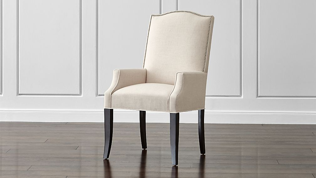 Colette II Upholstered Dining Arm Chair Dempsey: Flax ...
