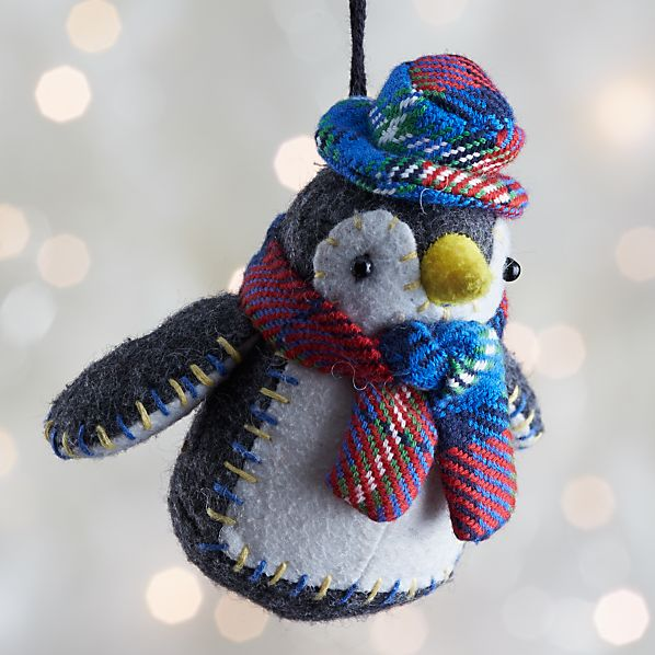 Black and White Collegiate Penguin Ornament