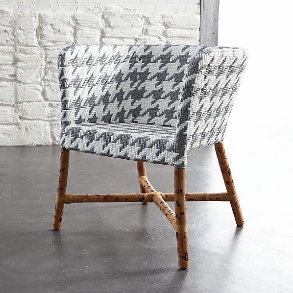 Como Grey and White Woven Chair