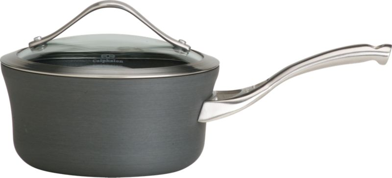 Unique new shape in maximum-performace cookware from Calphalon. Extremely versatile, durable nonstick cookware is crafted of hard anodized, heavy-gauge aluminum with domed, tempered-glass lid.<br /><br /><NEWTAG/><ul><li>Oversized shape with capacity indicator line</li><li>Contemporary stainless steel accents on lid</li><li>Ergonomic stay-cool handle in brushed stainless</li><li>Healthy cooking with little or no fat</li><li>Oven-safe to 450 degrees</li><li>Made in China</li></ul><br /><a href=/Gift-Registry/Registrant/Promo-Bonus-Gifts.aspx> Calphalon® and other Wedding Registry offers</a>