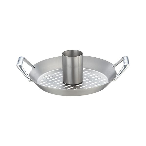 Stainless Steel Convertible Beer Can Chicken Roaster with Wok