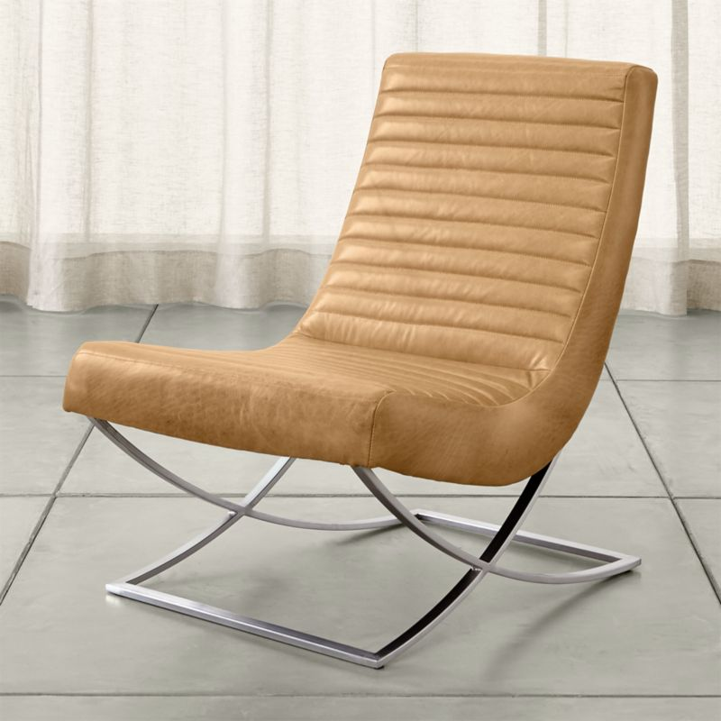 Cooper armless leather chair tampa fawn crate and barrel for Crate and barrel armless chair