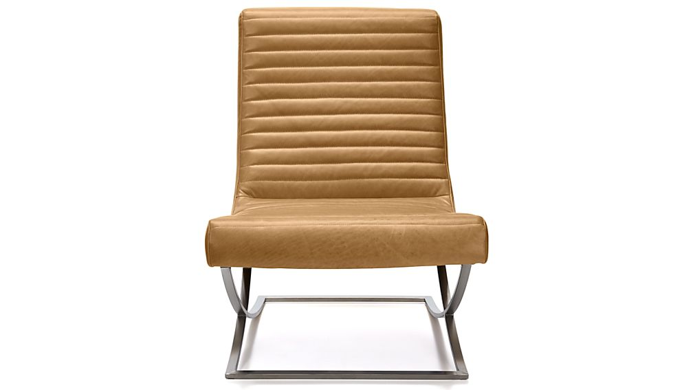 Cooper Armless Leather Chair Tampa Fawn Crate And Barrel