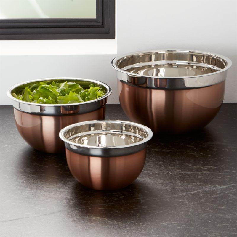 Copper Mixing Bowl Set of Three
