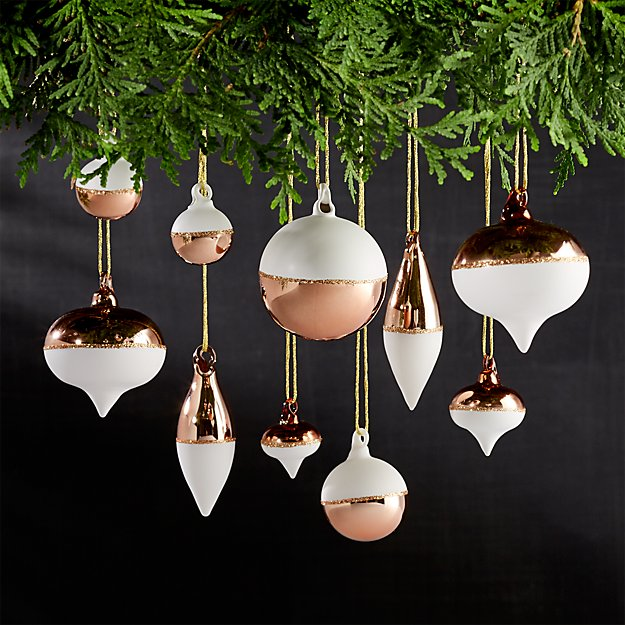 Set Of 10 Copper And White Mini Ornaments Crate And Barrel