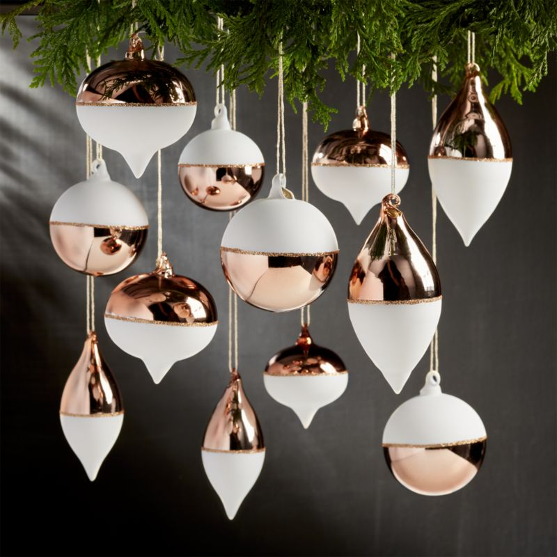 Set of 12 Copper and White Ornaments