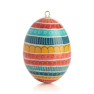 Hand Painted Coral Multi Stripe Easter Egg