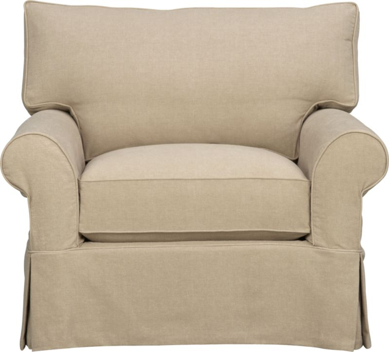 "A Crate and Barrel classic with a relaxed attitude and overstuffed appeal. Easy comfort and quality construction feature deep cushions and plump rolled arms. Prewashed cotton slipcovers with self-welt detail and dressmaker skirt are machine-washable.<br /><br />Additional <a href=""http://crateandbarrel.custhelp.com/cgi-bin/crateandbarrel.cfg/php/enduser/crate_answer.php?popup=-1&p_faqid=125&p_sid=DMUxFvPi"">slipcovers</a> available below and through stores featuring our Furniture Collection.<br /><br />After you place your order, we will send a fabric swatch via next day air for your final approval. We will contact you to verify both your receipt and approval of the fabric swatch before finalizing your order.<br /><br /><NEWTAG/><ul><li>Eco-friendly construction</li><li>Certified sustainable, kiln-dried hardwood frame</li><li>Seat cushion is soy- or plant-based polyfoam wrapped in fiber-down blend and encased in downproof ticking</li><li>Back cushion is synthetic fiber and feather-down blend wrapped in downproof ticking</li><li>Flexolator spring suspension</li><li>100% prewashed cotton slipcover</li><li>Removable slipcovers are machine washable</li><li>Benchmade</li><li>See additional frame options below</li></ul>"
