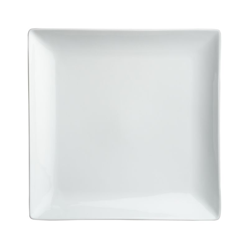 Clean, crisp white porcelain dinnerware combines squares and curves in a dynamic contemporary design.<br /><br /><NEWTAG/><ul><li>Porcelain</li><li>Chip- and stain-resistant</li><li>Dishwasher-, microwave- and oven-safe to 350 degrees</li><li>Made in China</li></ul>