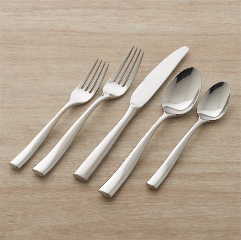 Clean, sophisticated design sets a fashionable table. Simple and striking, this polished flatware is compatible with a wide variety of dinnerware. Well-balanced and comfortable in the hand, with a smooth, bright mirror finish.<br />Includes 4 5-piece placesettings.<br /><br />