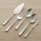 Couture 5-Piece Serving Set: pastry server, serving fork, serving spoon, pierced serving spoon, butter knife.