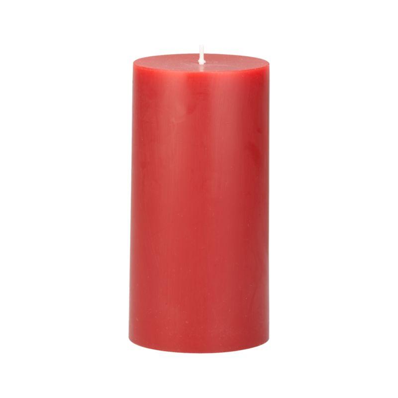 """Stock up on the classic pillar candle, in rich cranberry.<br /><br /><NEWTAG/><ul><li>Paraffin wax</li><li>Cotton wick</li><li>Unscented</li><li>Burn time: 3""""x6"""" (80 hours)</li><li>Made in India</li></ul>"""
