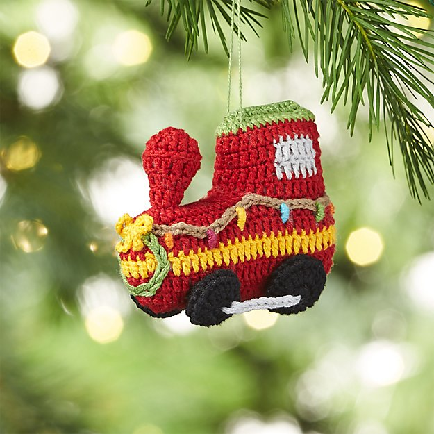 Christmas Train with Twinkle Lights Crocheted Ornament