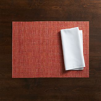 Chilewich ® Crepe Coral Vinyl Placemat and Fete White Cotton Napkin