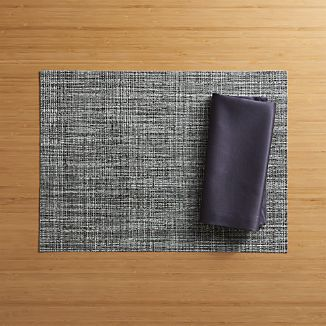 Chilewich ® Crepe Grey Vinyl Placemat and Sateen Grey Napkin