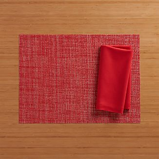 Chilewich ® Crepe Red Vinyl Placemat and Fete Cherry Cotton Napkin
