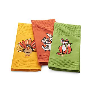 Set of 3 Critters Dish Towels