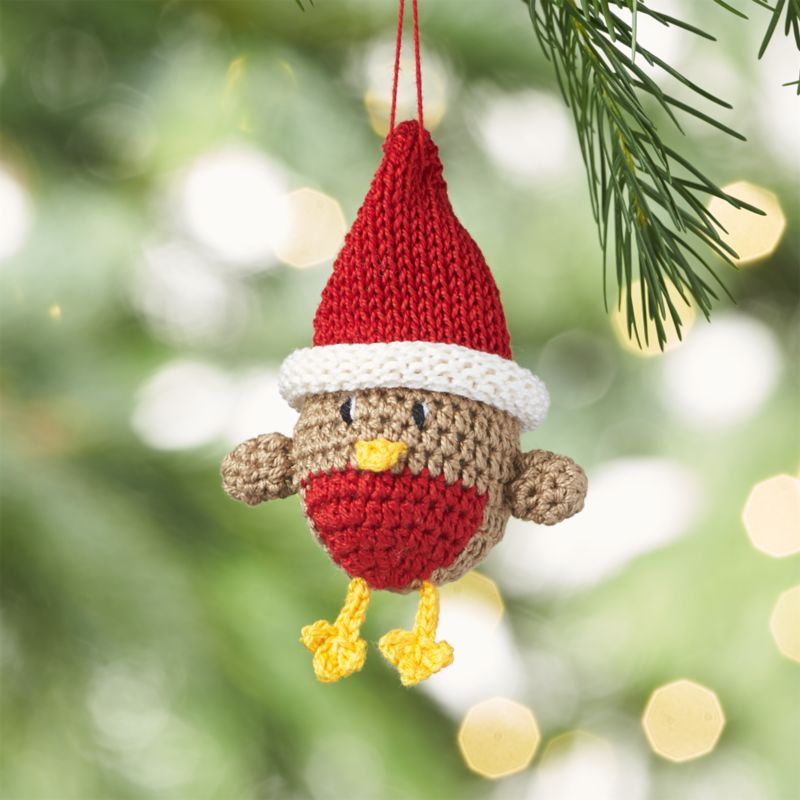 Crocheted Chick with Red Hat Christmas Ornament