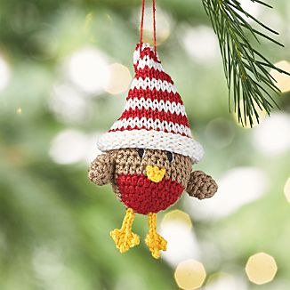 Crocheted Chick with Striped Hat Ornament