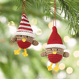 Crocheted Chicks with Hat Christmas Ornaments