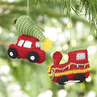 Christmas Train and Car Crocheted Ornaments