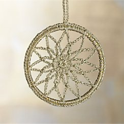 Crocheted Gold Snowflake Ornament